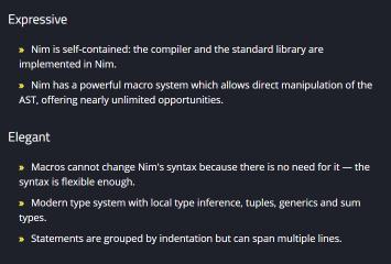 Nim LTS 1.0.x screenshot