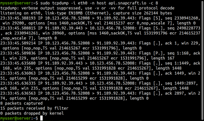 tcpdump screenshot