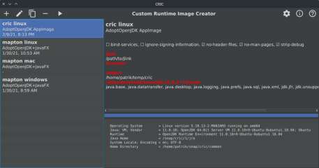 CRIC - Java Custom Runtime Image Creator screenshot