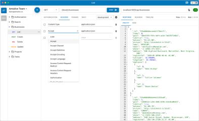 Visual API client and collaboration tool screenshot