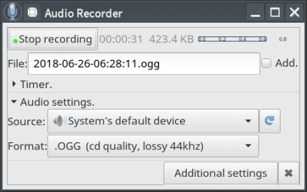 Install Audio Recorder (UNOFFICIAL) for Linux using the Snap