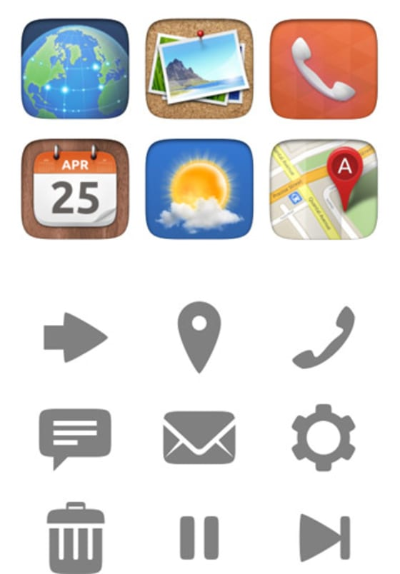 Previous mobile and monochromatic icons