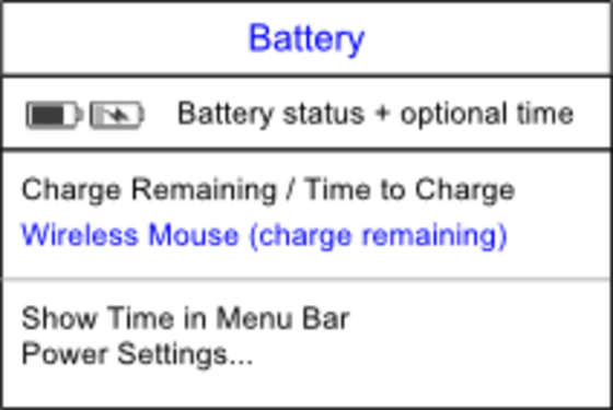 "The battery menu has items for each battery, ""Show Time in Menu Bar"", and ""Power Settings""."