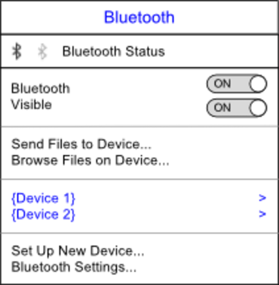 "The Bluetooth menu has switches for toggling Bluetooth and visibility, items for ""Send Files to Device"" and ""Browse Files on Device"", a list of devices, and items for ""Set Up New Device"" and ""Bluetooth Settings""."