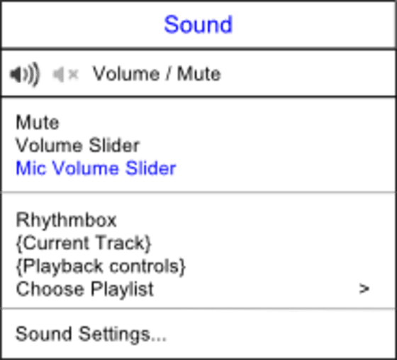 "The sound menu contains a ""Mute"" item, volume sliders, music player sections, and ""Sound Settings""."