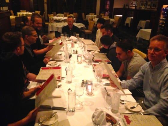 Design Team dinner. From the left: TingTing, Andrew, John, Giorgio, Marcus, Olga, James, Florian, Bejan and Jouni.