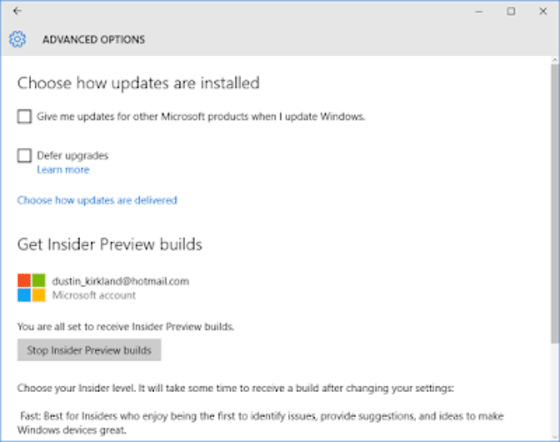 3 You Need To Notify Your Windows Desktop That Youre A Insider Under System Settings Advanced Update Options