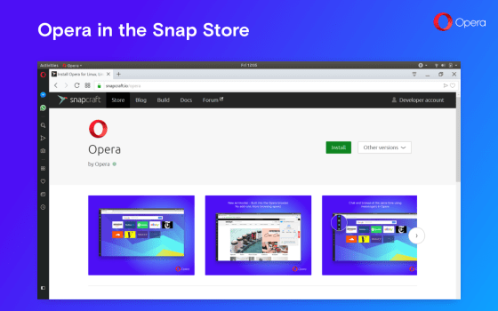 Opera linux snap
