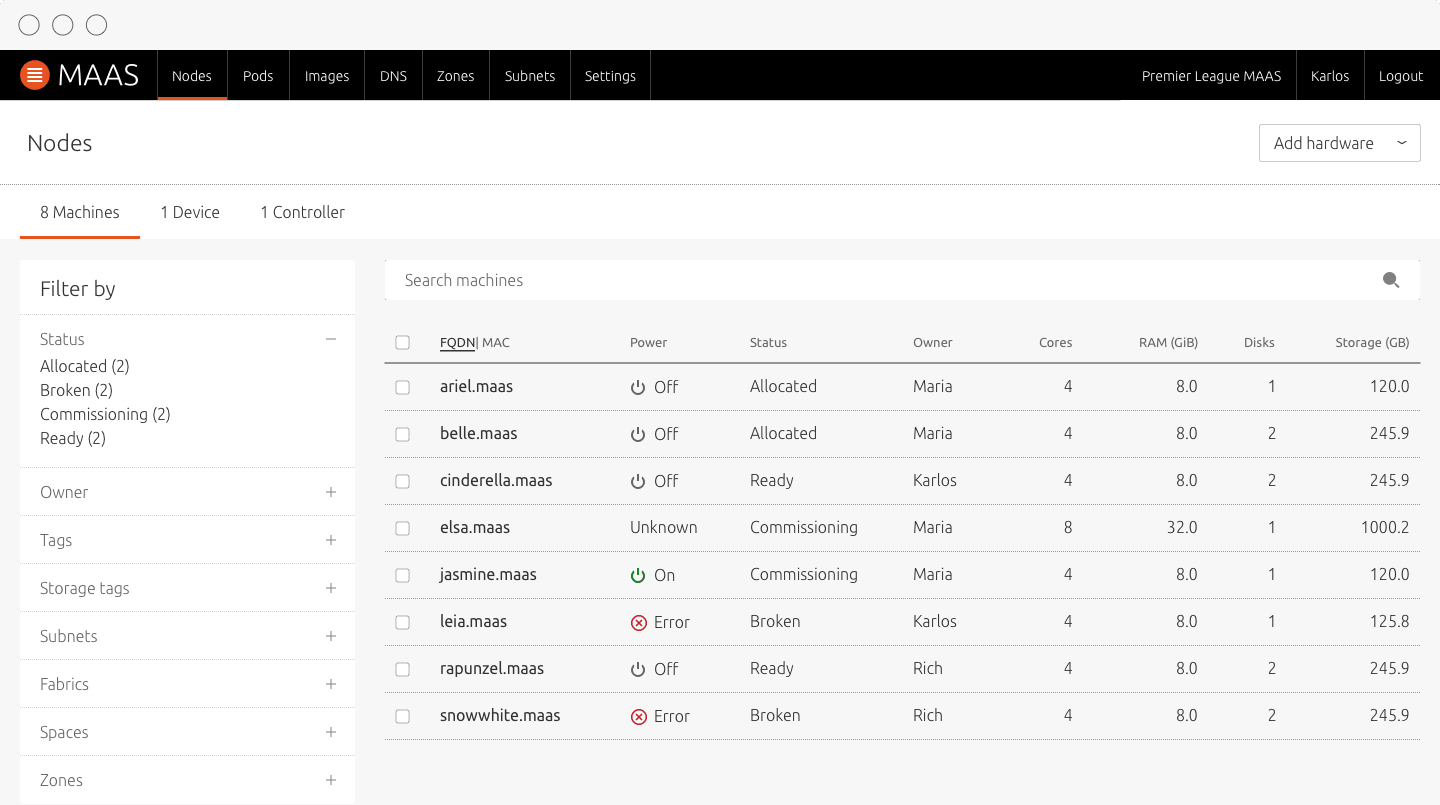 MAAS UI web page showing node listing