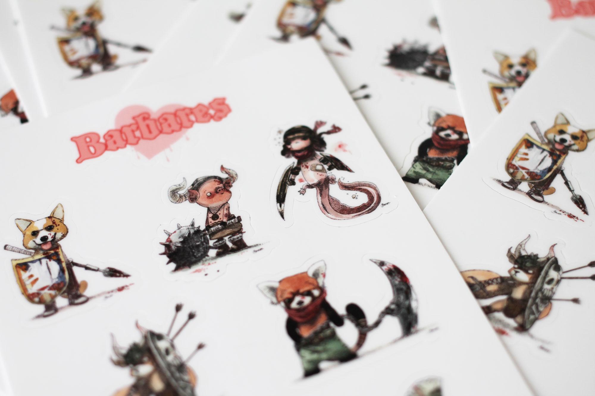 Planche de stickers barbares by Boulet