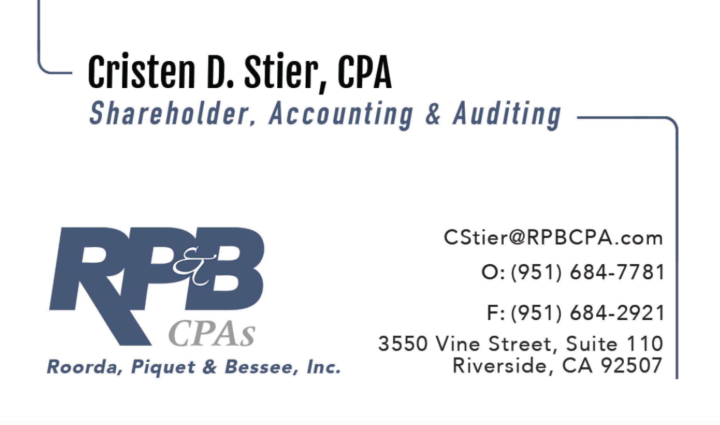 Cristen D  Stier, CPA, MBA | RP&B