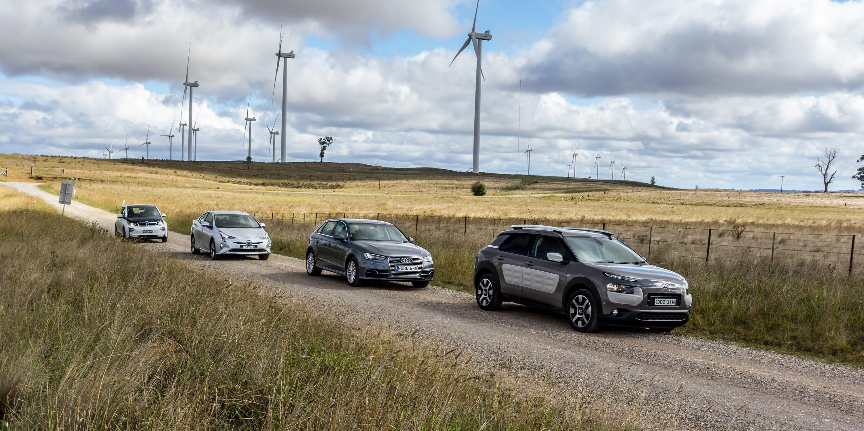 Eco Test Country loop Audi A3 e tron v BMW i3 v Citroen C4 Cactus v Toyota Prius 200