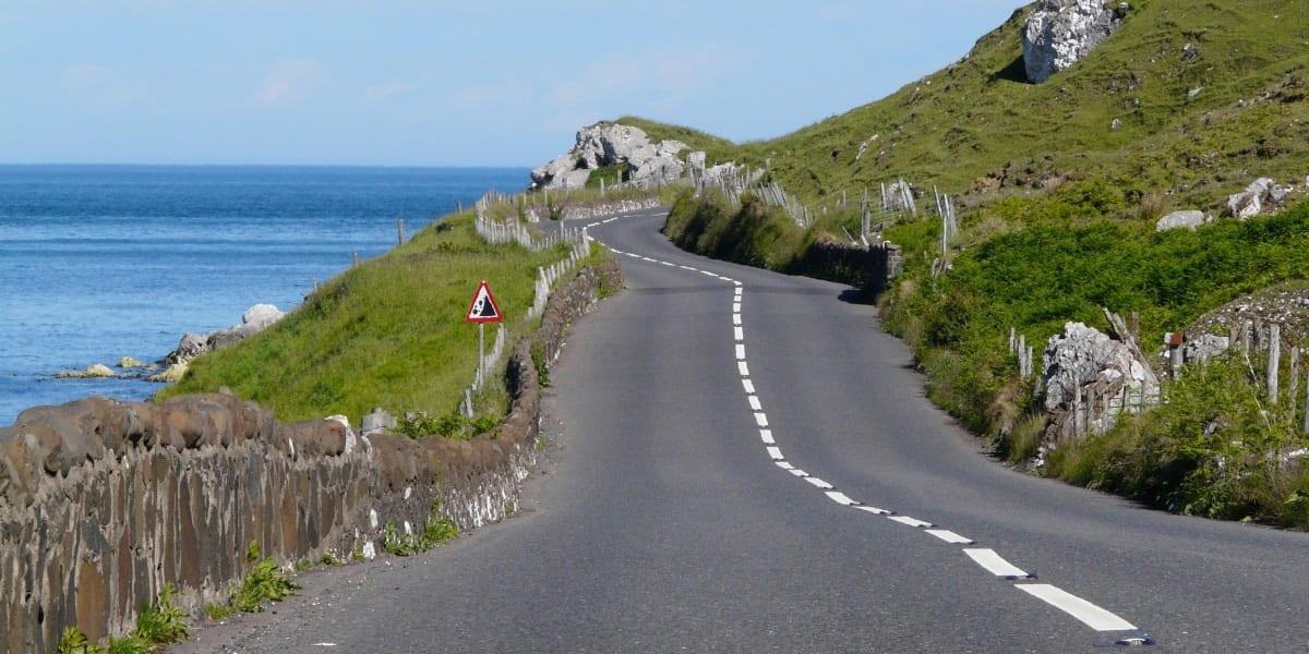 ireland road coast green country