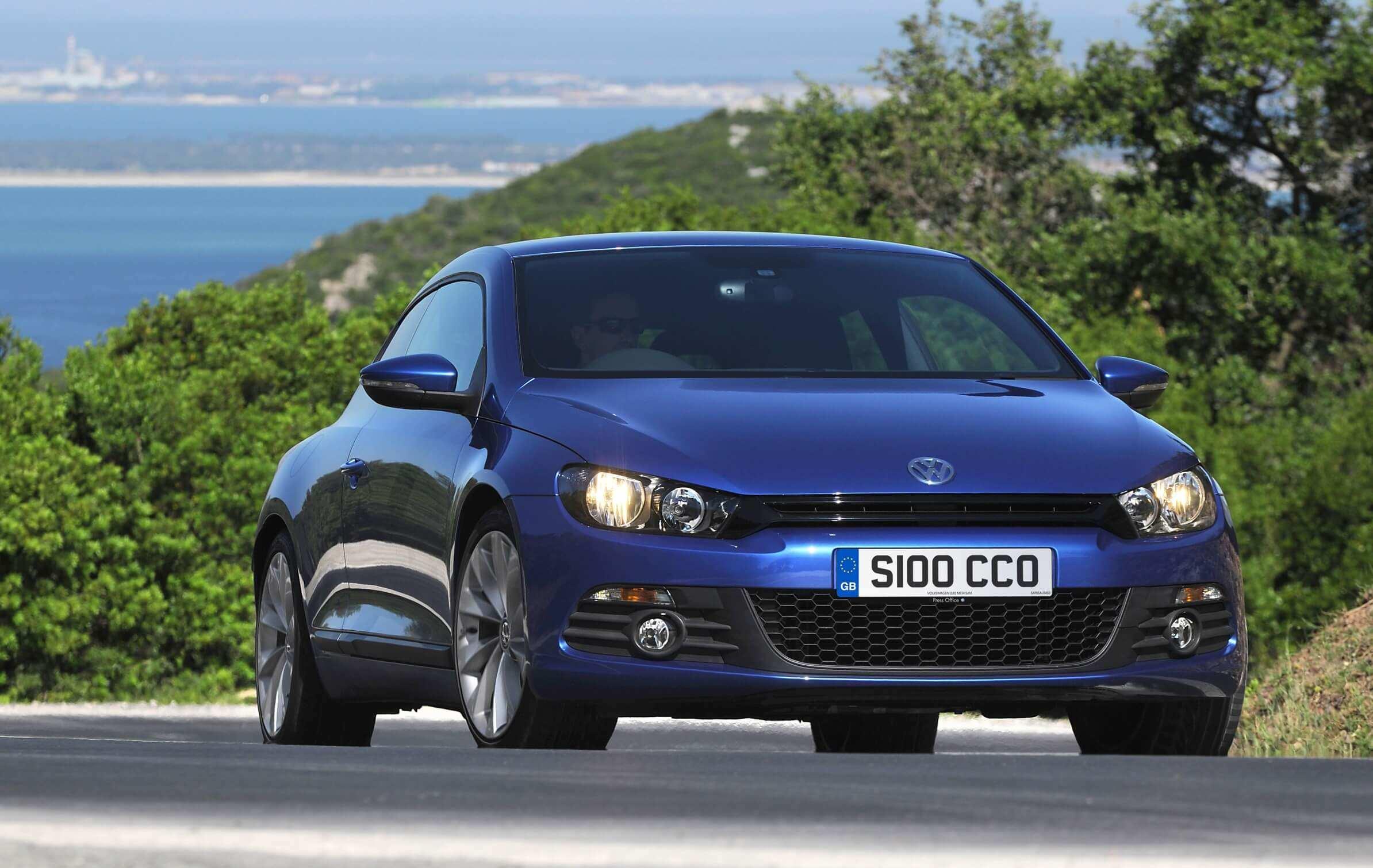 Blue Volkswagen Scirocco coupe