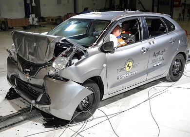 Silver Suzuki Baleno crash test