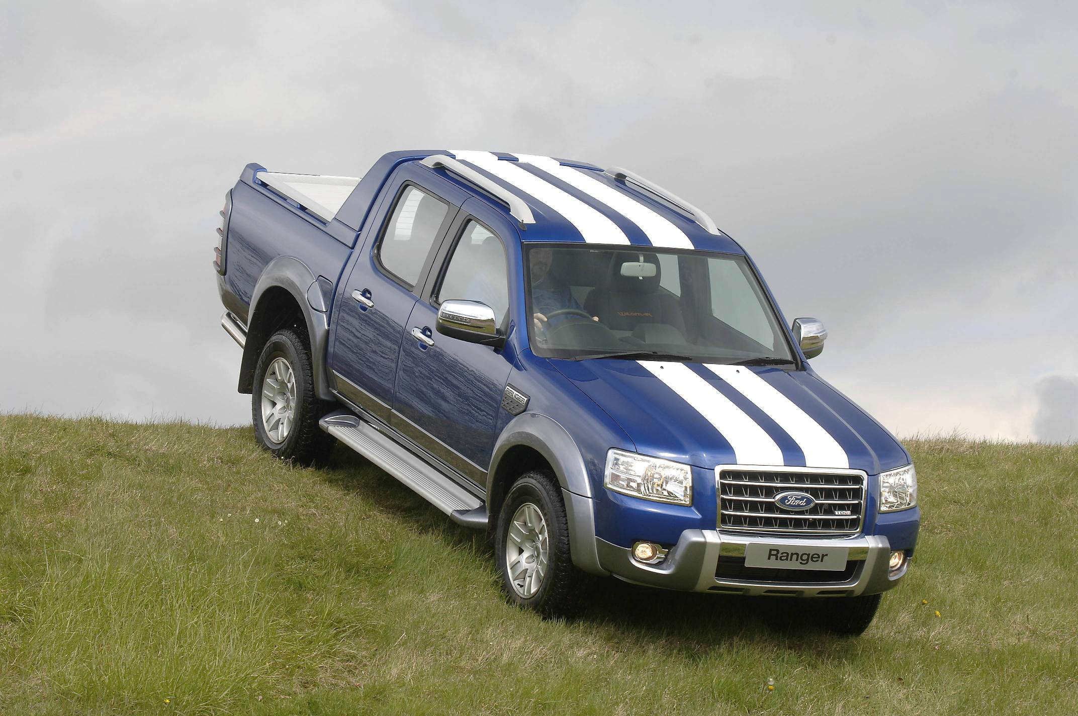 image of a blue and white for ranger car on a hill
