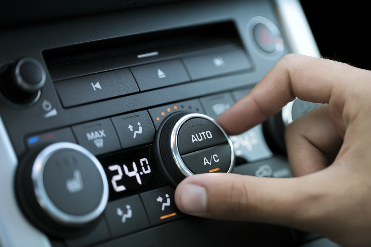 image of a car air conditioning control on dashboard