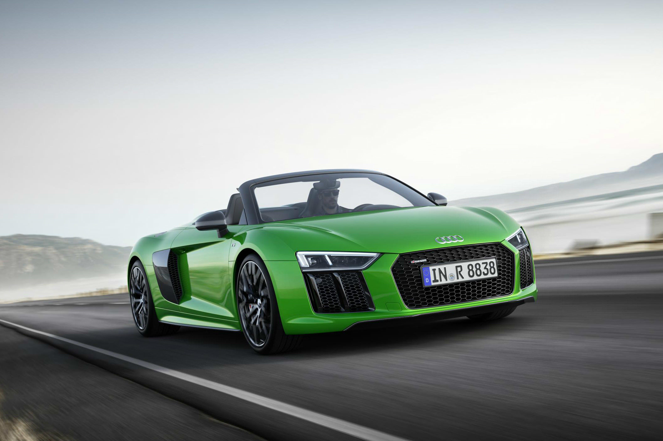 image of a green audi r8 v10 plus spider car