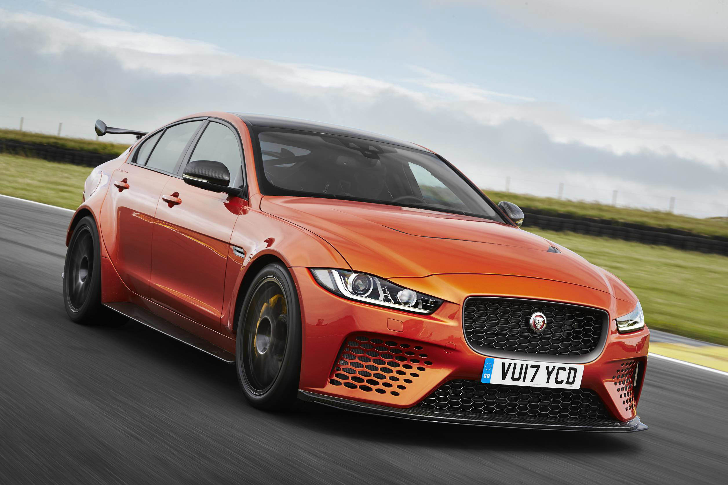 image of an orange jaguar xe sv project 8 car