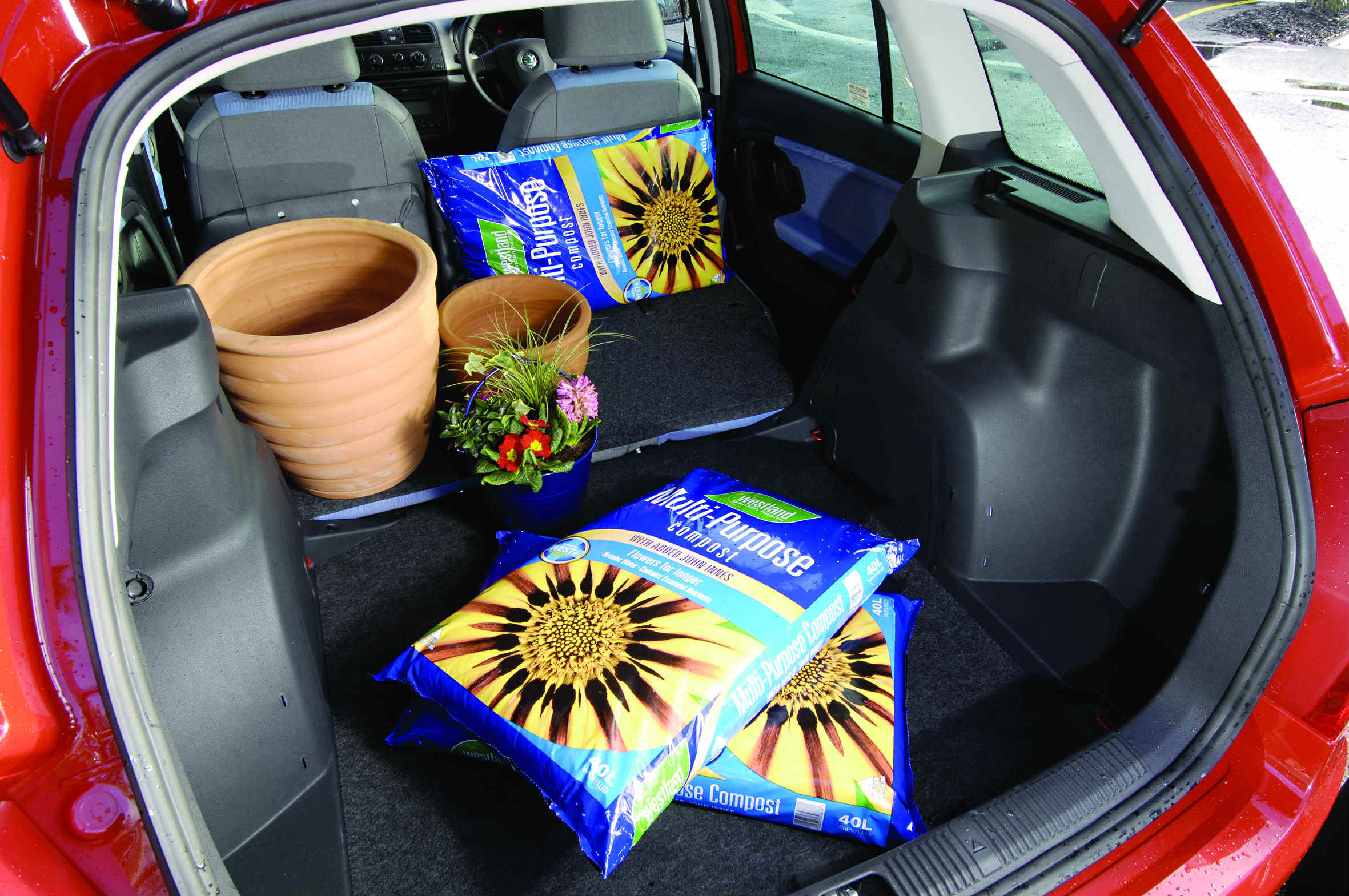 image of plants and garden pots inside the boot of a skoda fabia