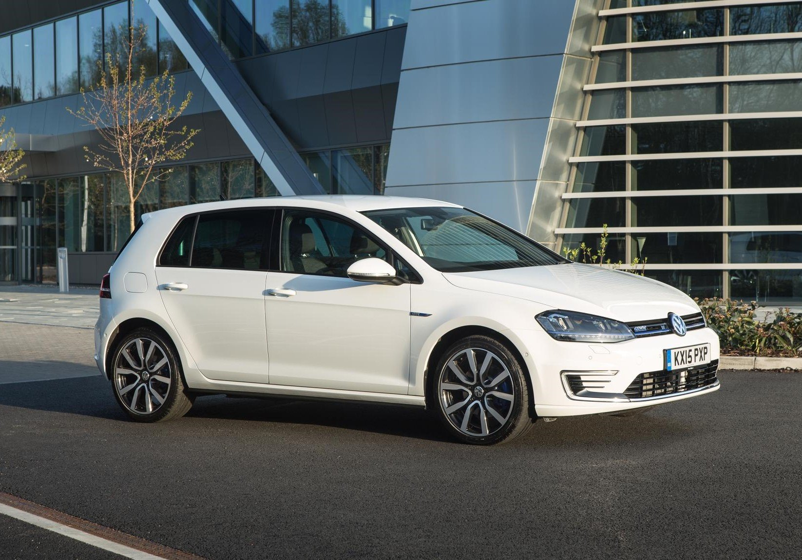 image of a white electric volkswagen golf gte car exterior