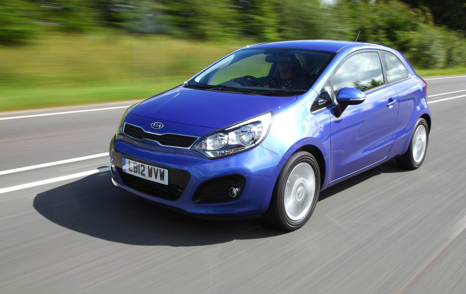 image of a blue kia rio car exterior