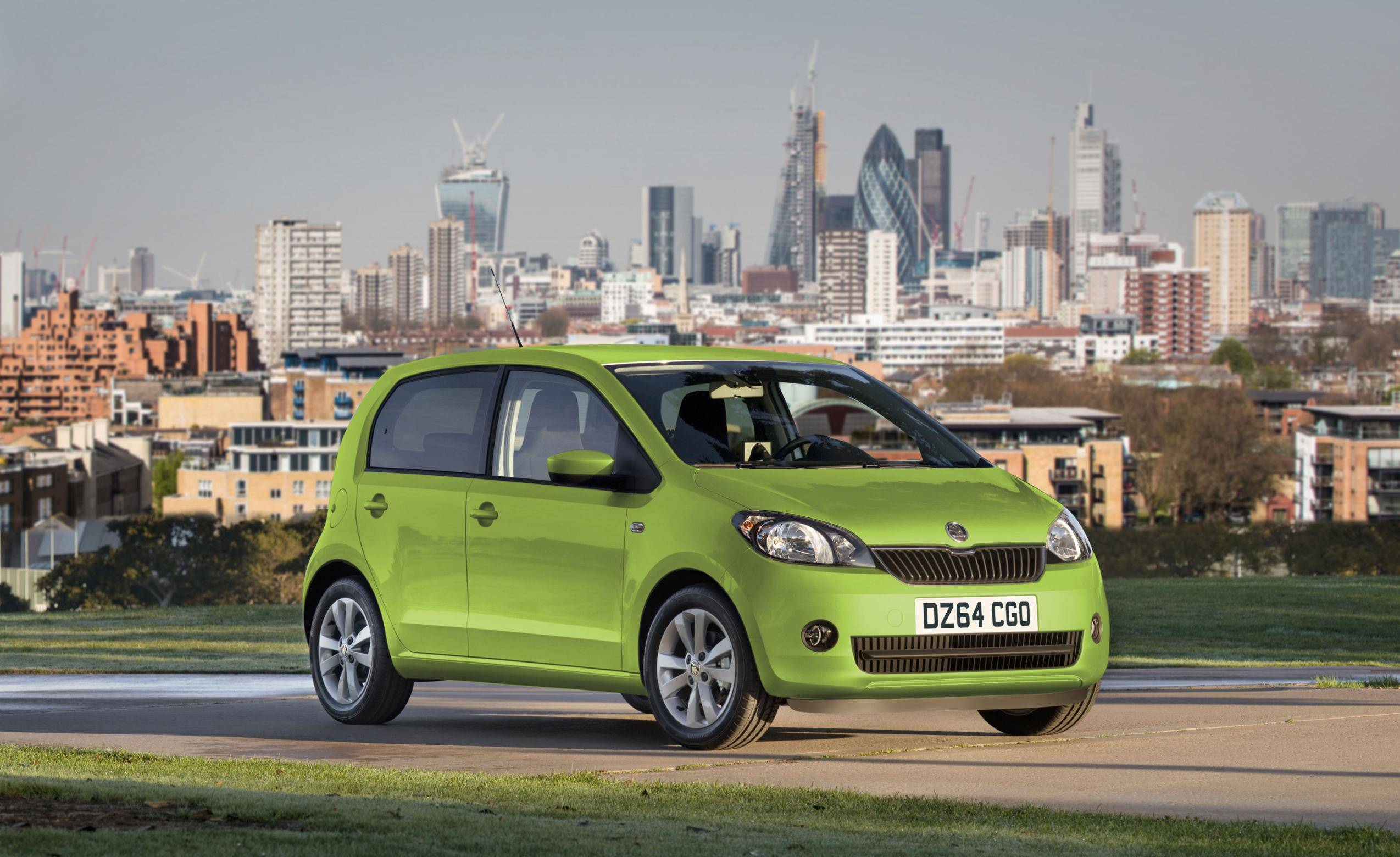 image of a green skoda citigo car exterior