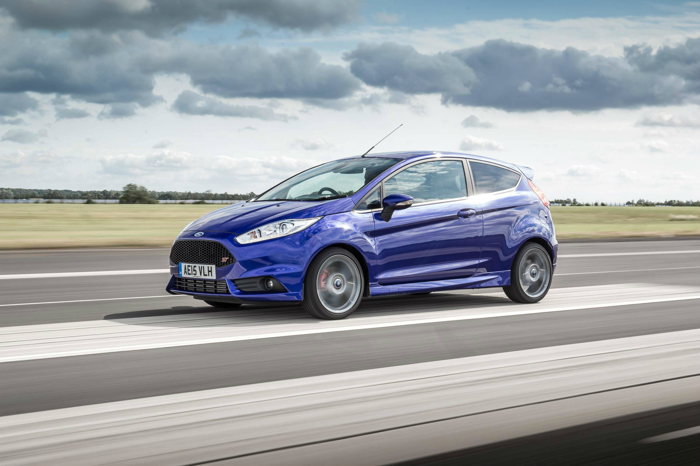 image of a blue ford fiesta st car exterior