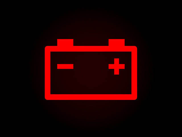 image of red battery dashboard warning light