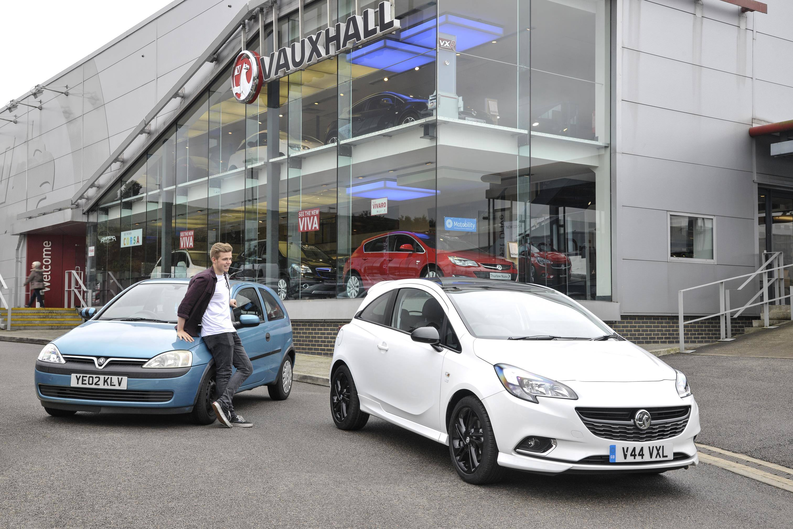 image of a person trading an old vauxhall corsa in for a brand new one