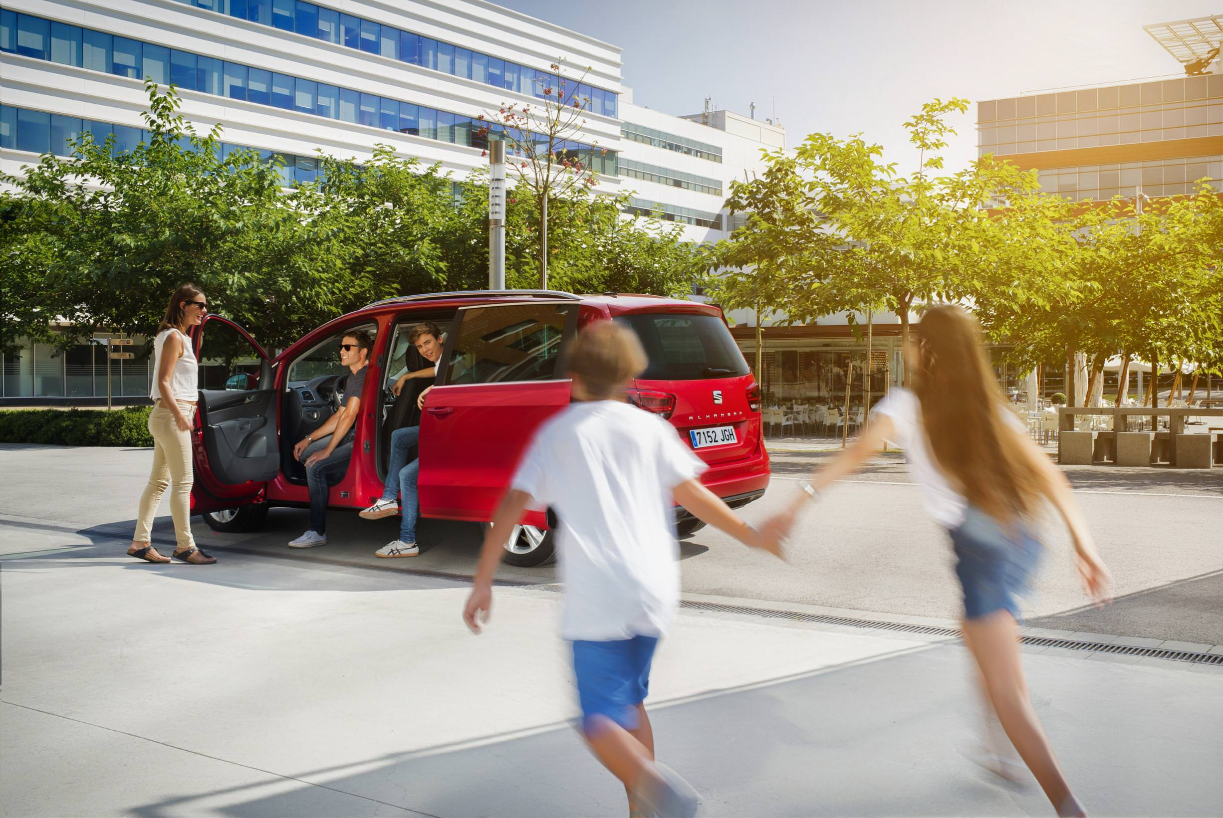 image of a red seat alhambra car exterior
