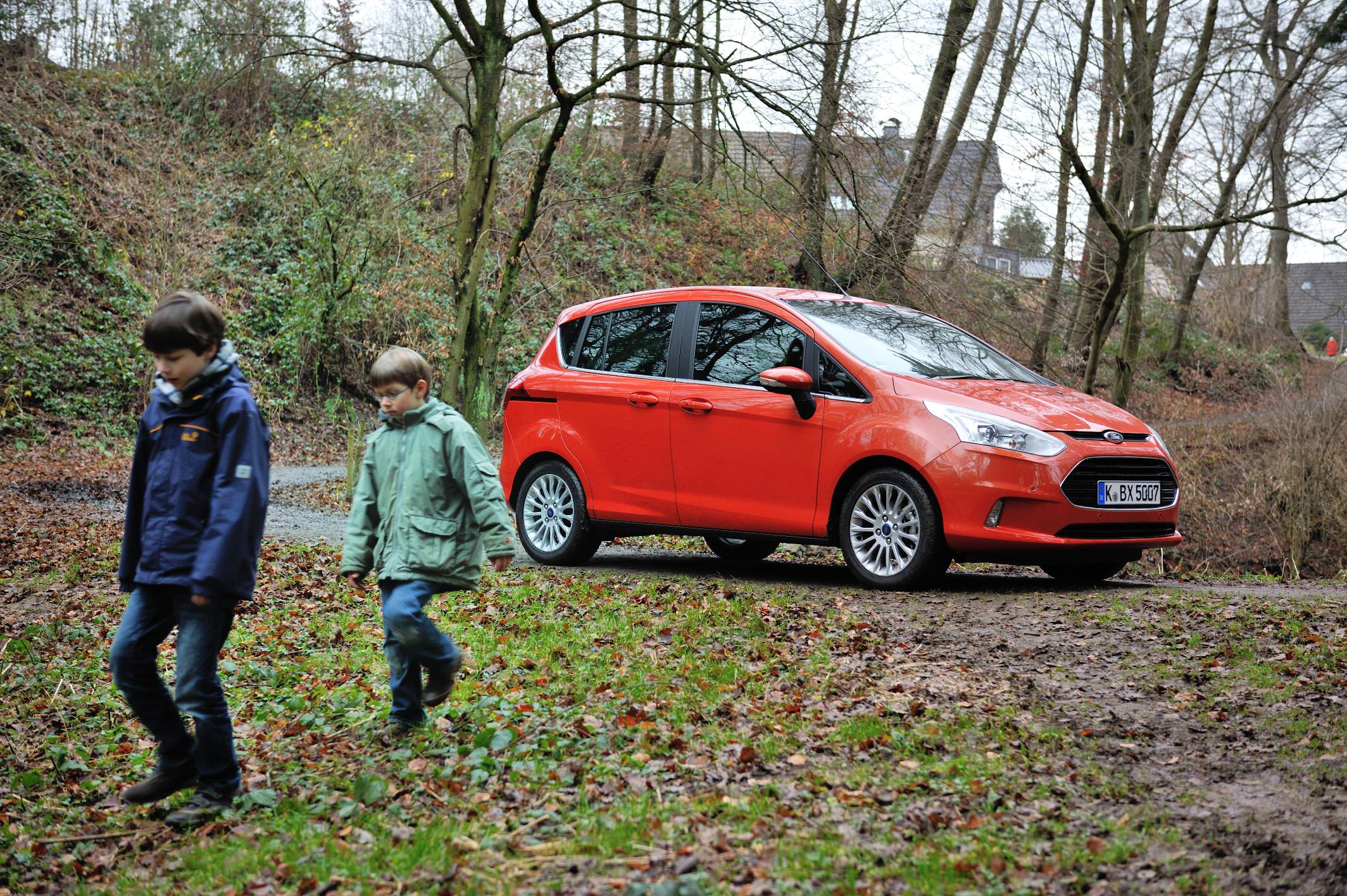 image of a red ford b max car exterior