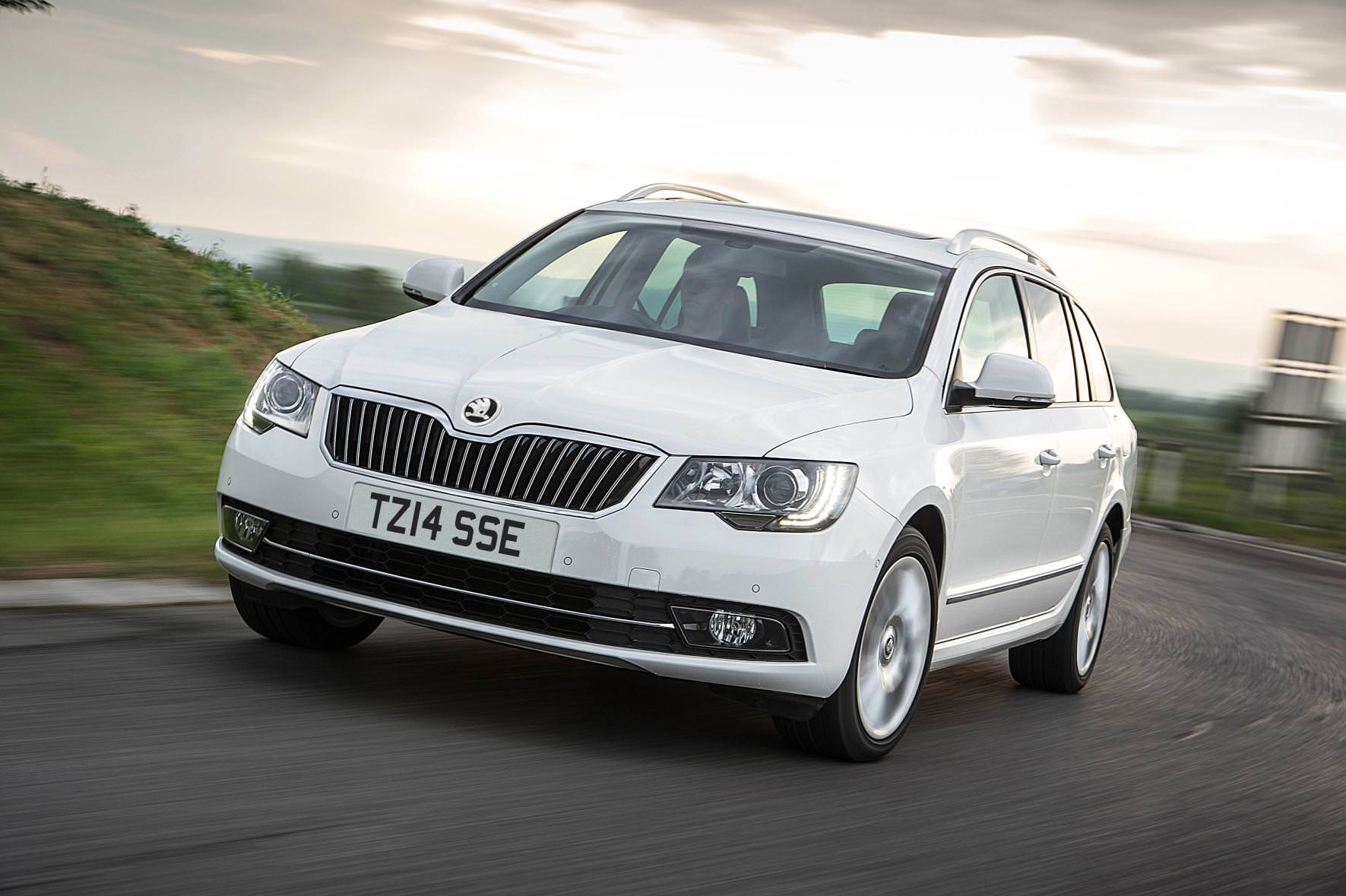 image of a white skoda superb car exterior