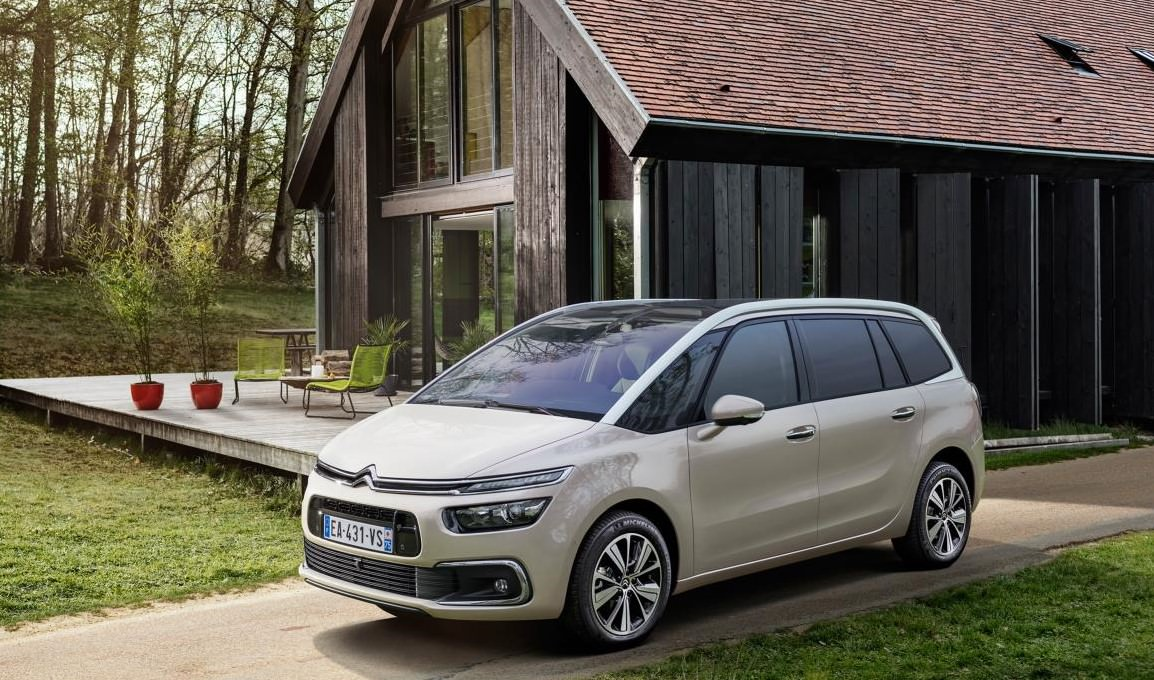 image of a light grey citroen c4 grand car exterior