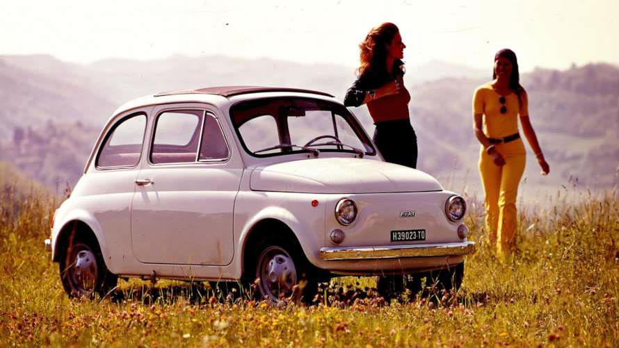 image of a white vintage fiat 500 car exterior