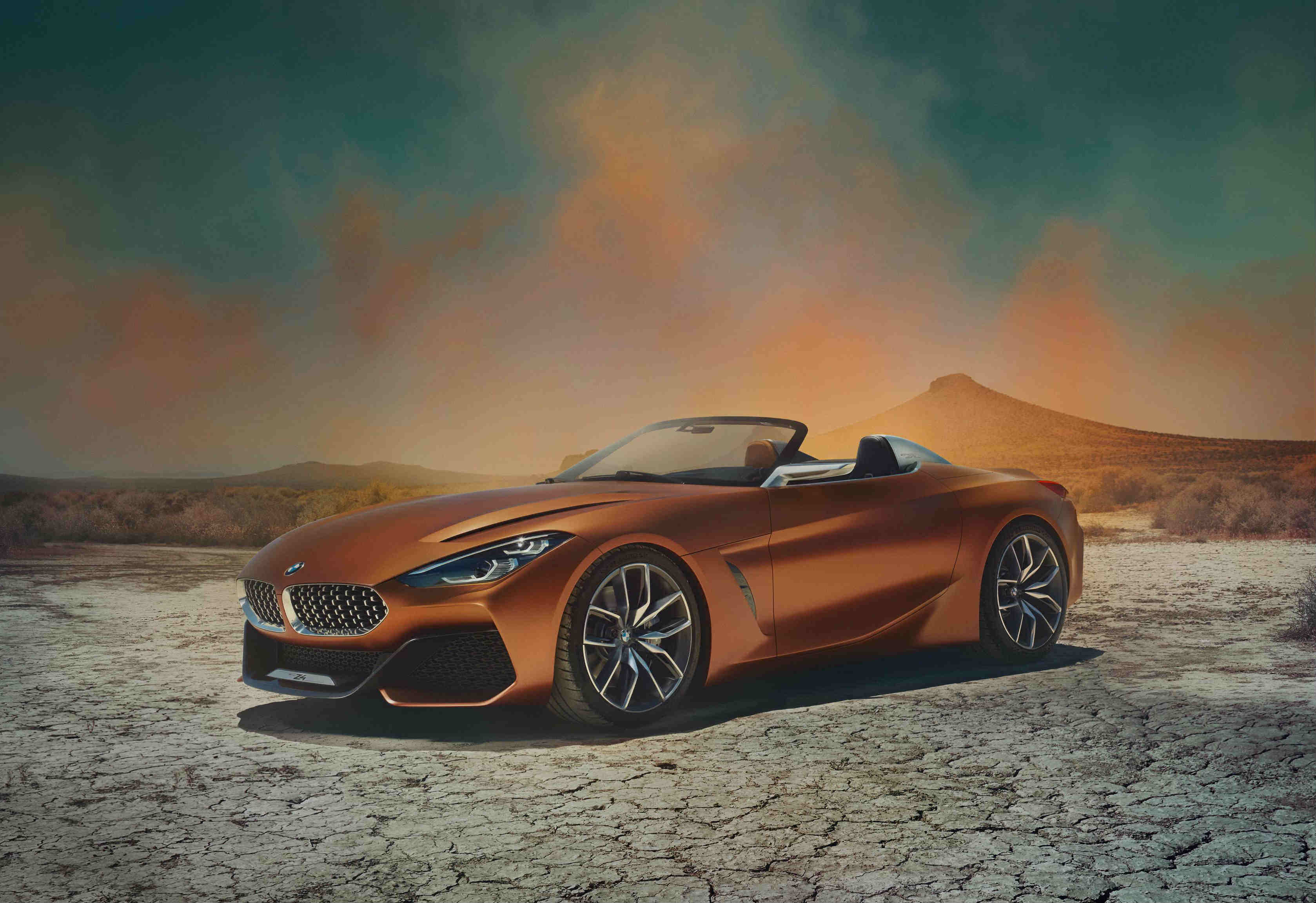 image of an orange bmw z4 concept car at frankfurt motor show 2017