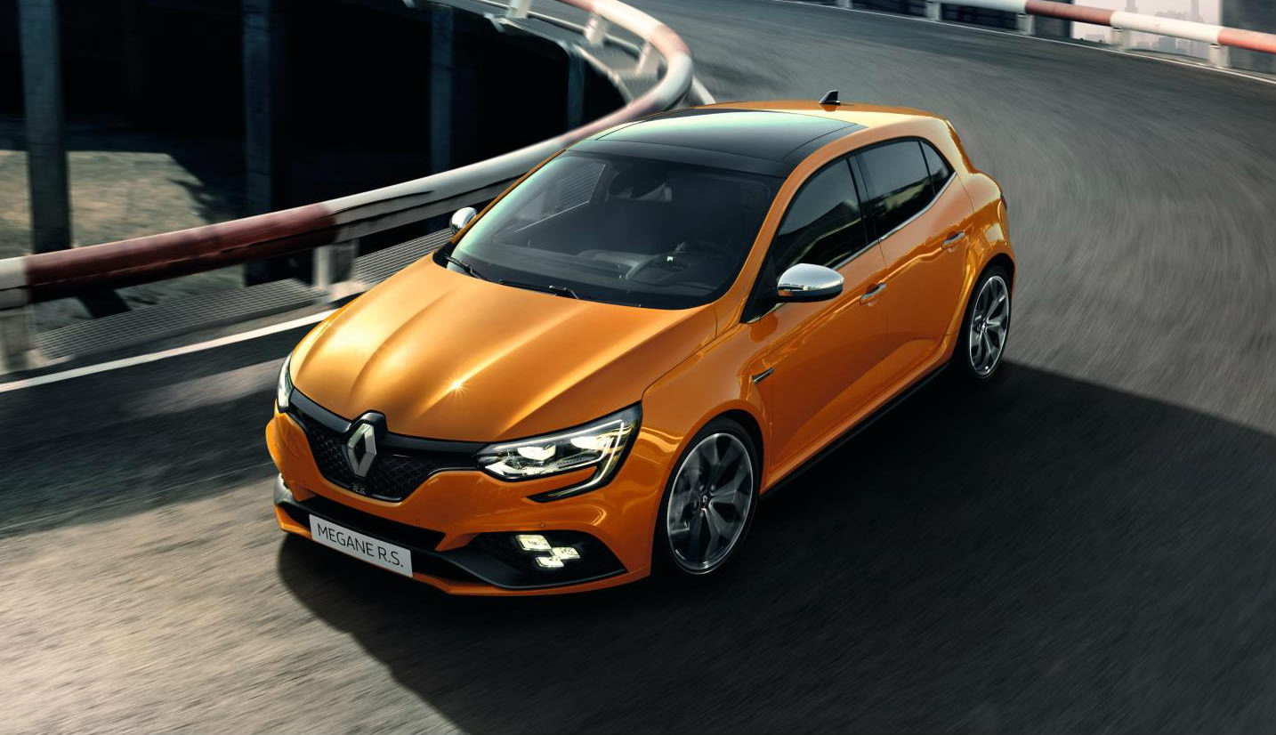 image of an orange renault sport megane concept car at frankfurt motor show 2017