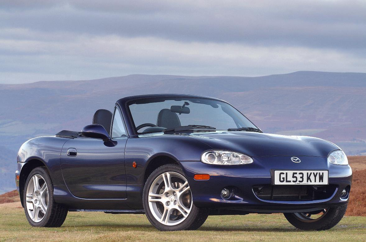 image of a  dark blue Mazda MX-5