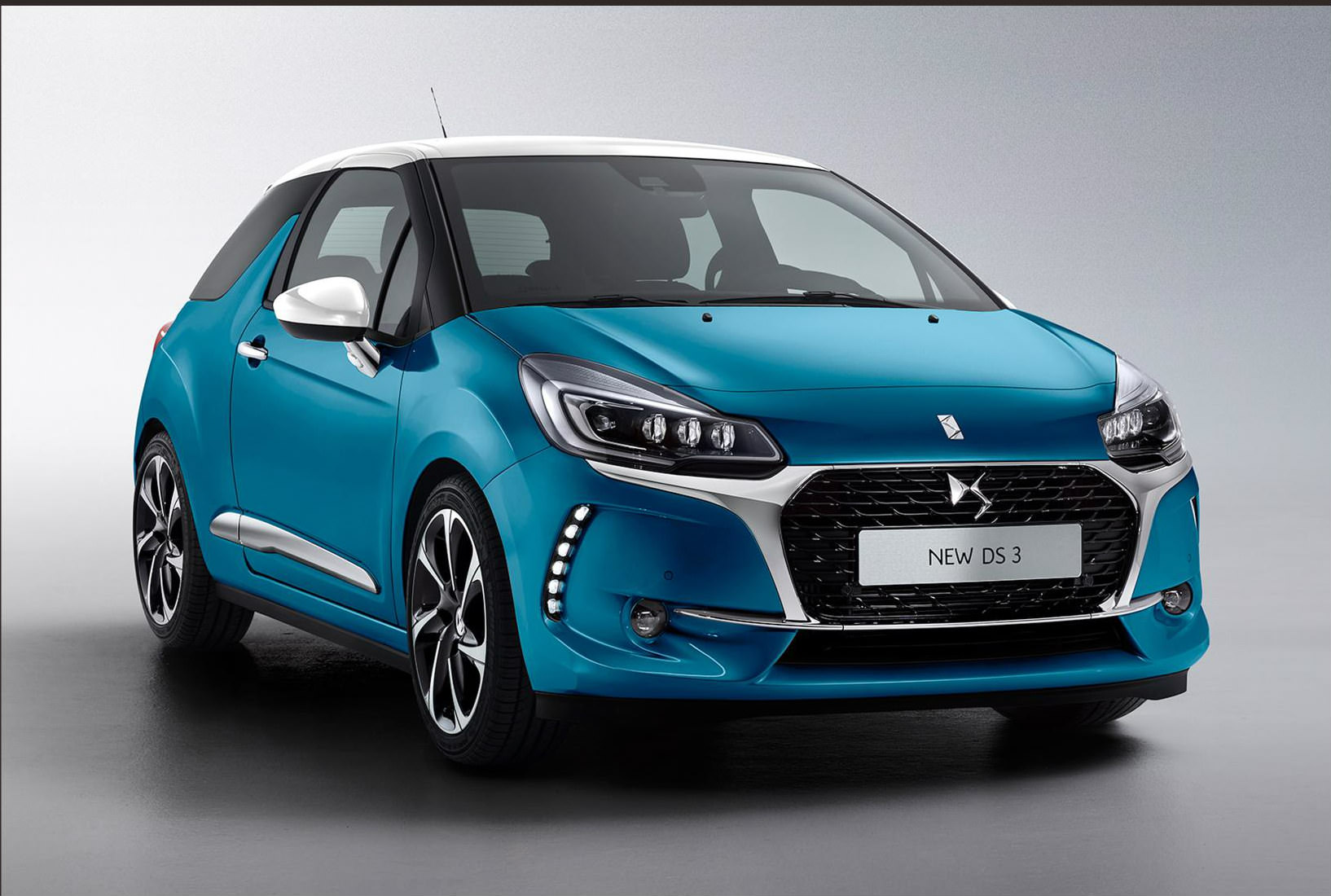 image of a blue ds 3 car exterior
