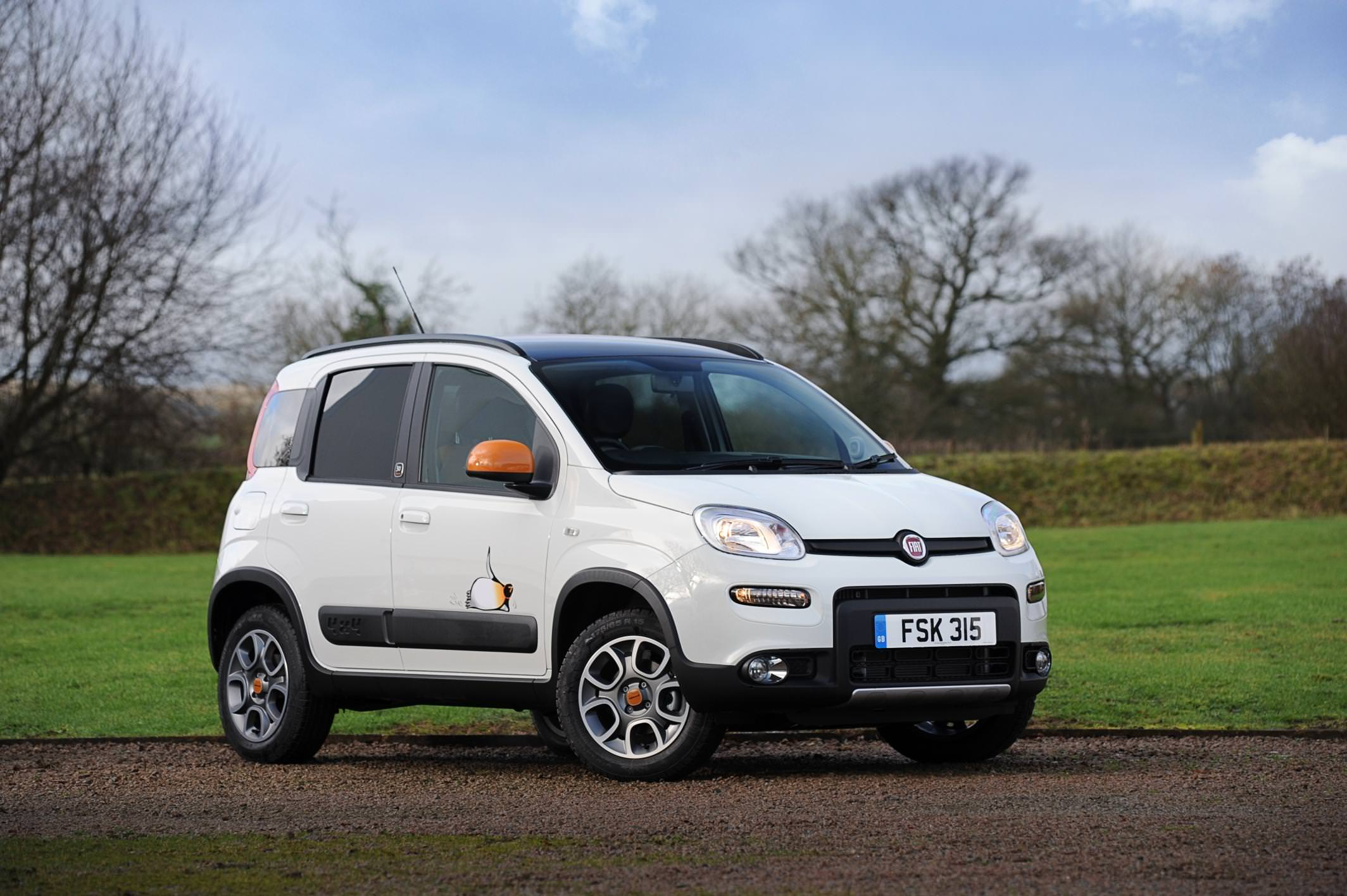 image of a white fiat panda 4x4 car exterior