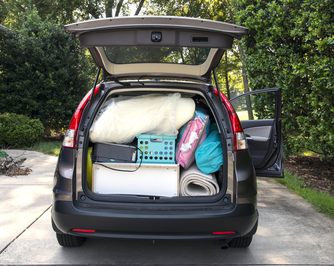 image of a car boot full with household fittings