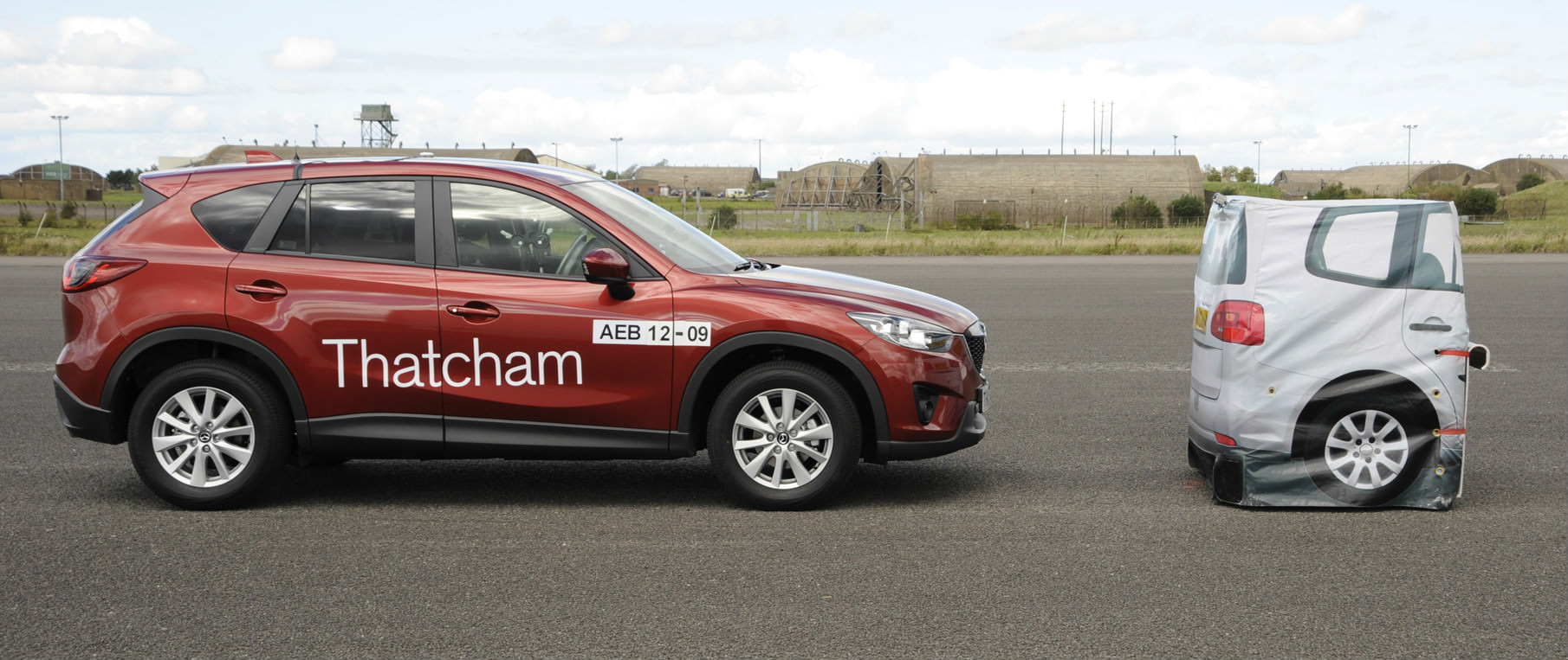 image of a car testing its autonomous emergency braking sytem