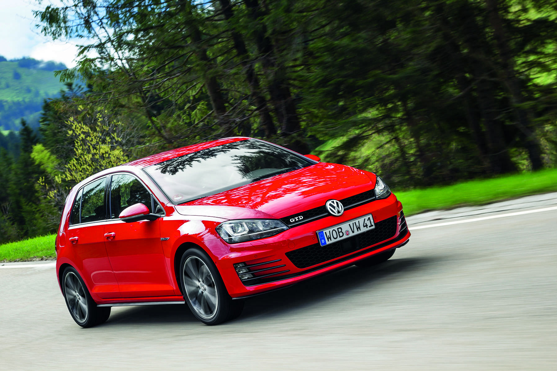 image of a red volkswagen golf gtd car exterior