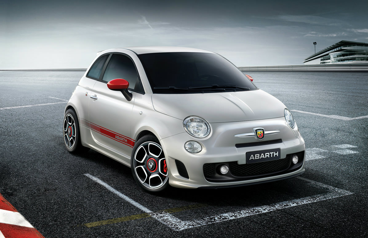 image of a white fiat 500 abarth car exterior
