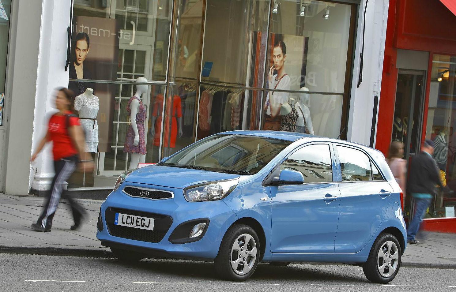 image of a blue kia picanto car exterior