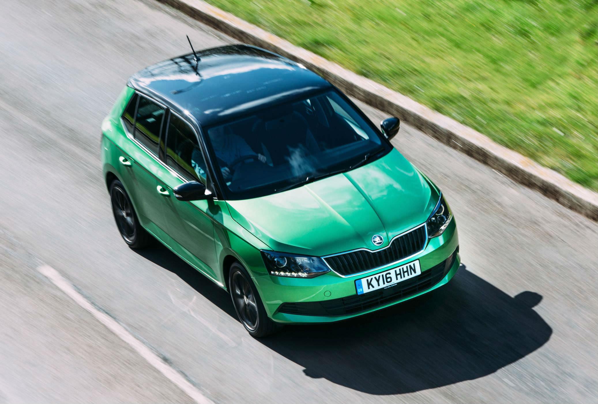 image of a green skoda fabia car exterior