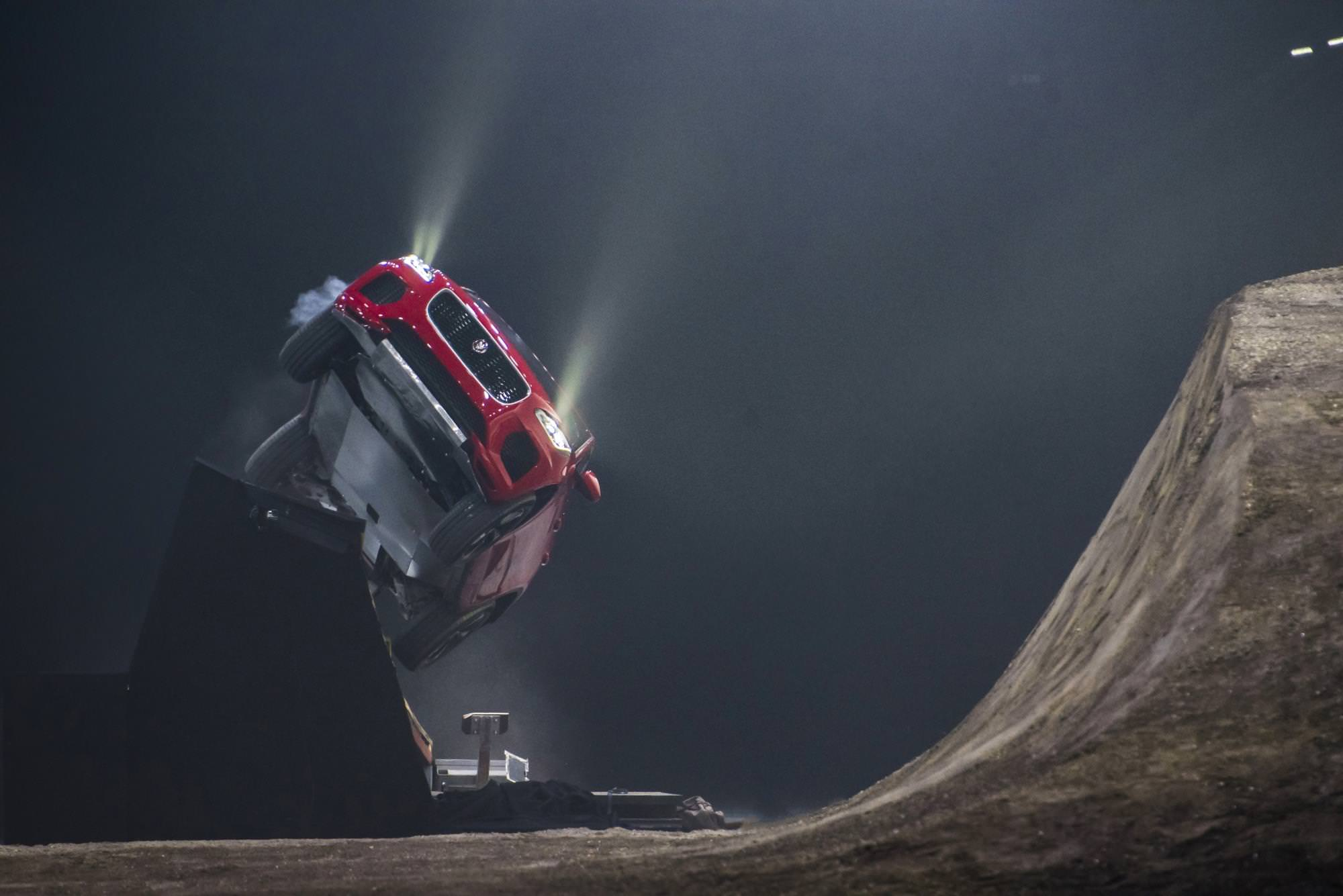 image of a jaguar e pace car stunt