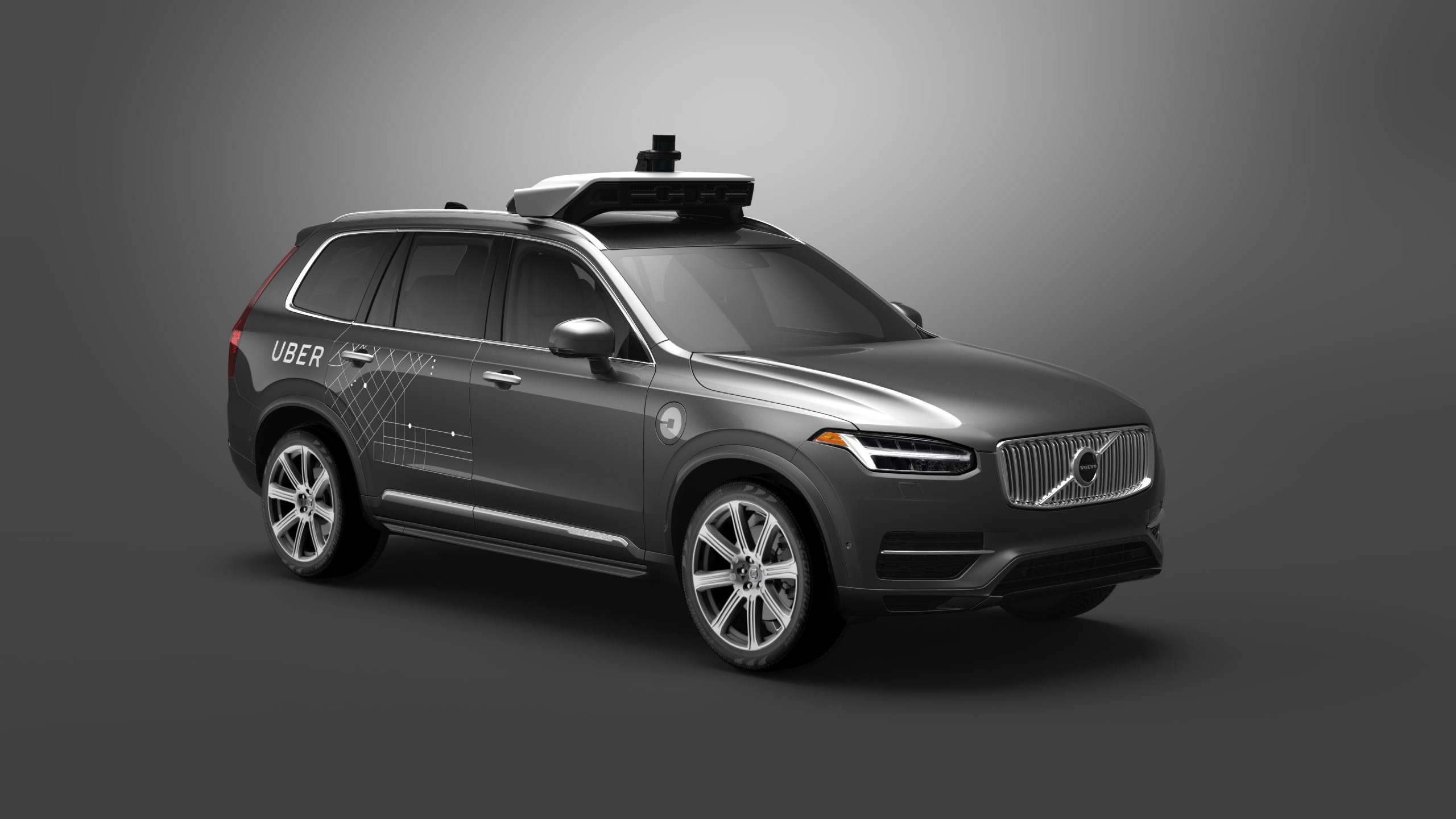 image of a volvo car which is being used as an uber taxi