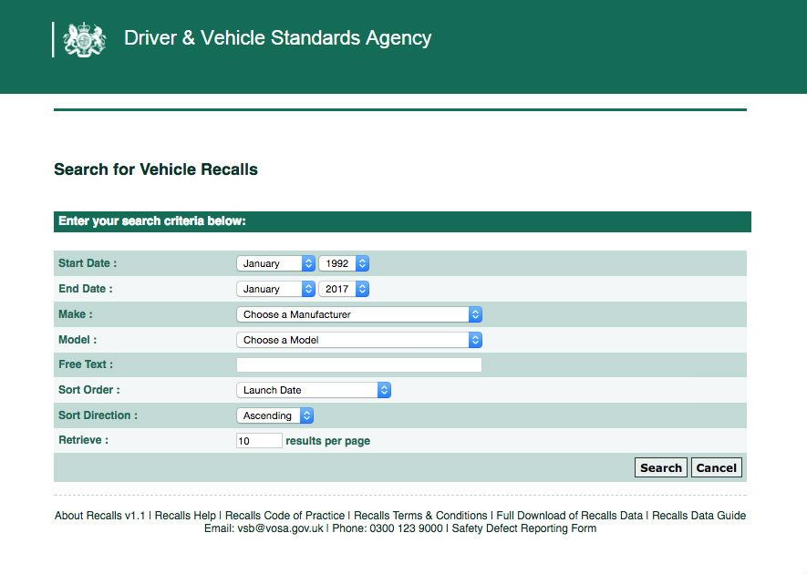 image of the dvsa website for checking vehicle recalls