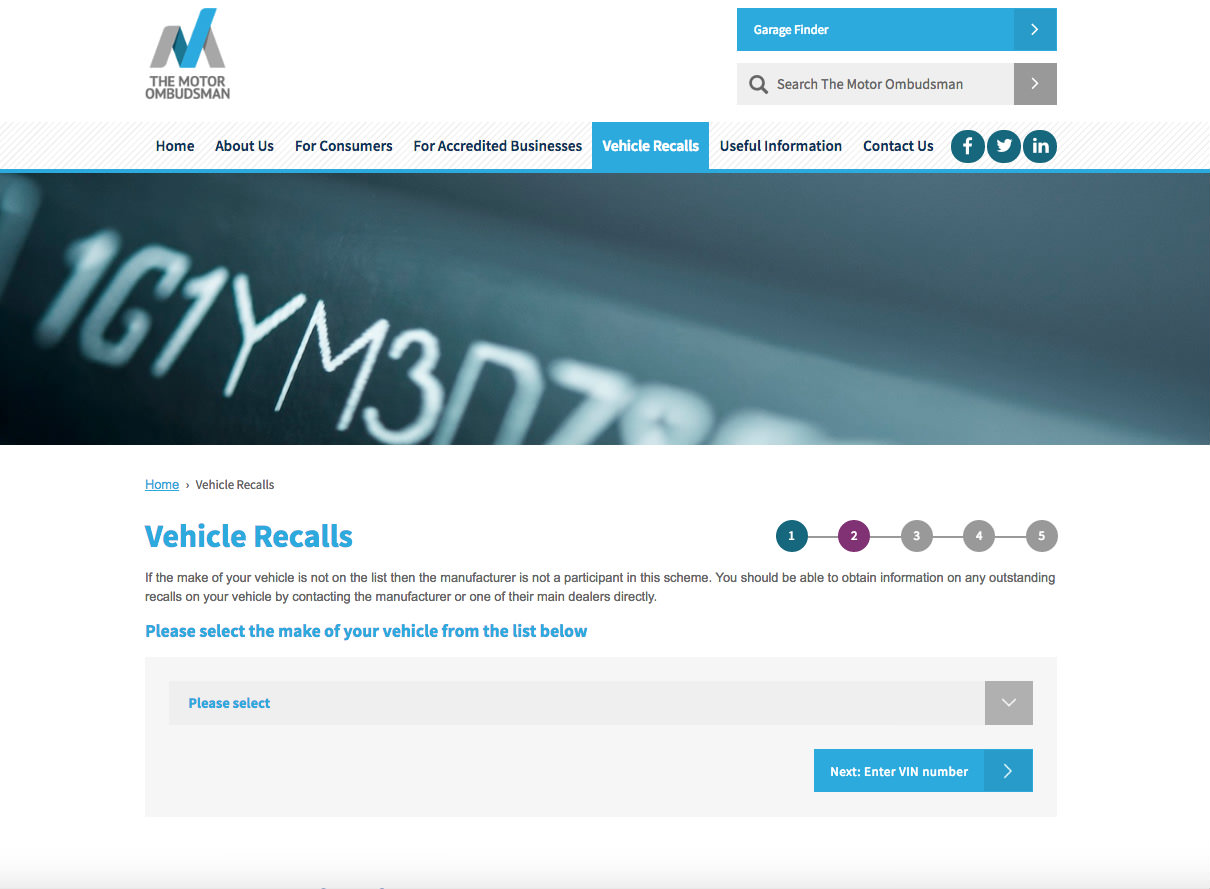 image of the motor ombudsman website for checking vehicle recalls